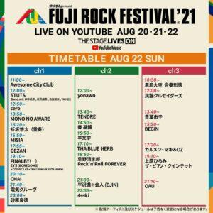 フジロック'21 live配信タイムテーブル3日目